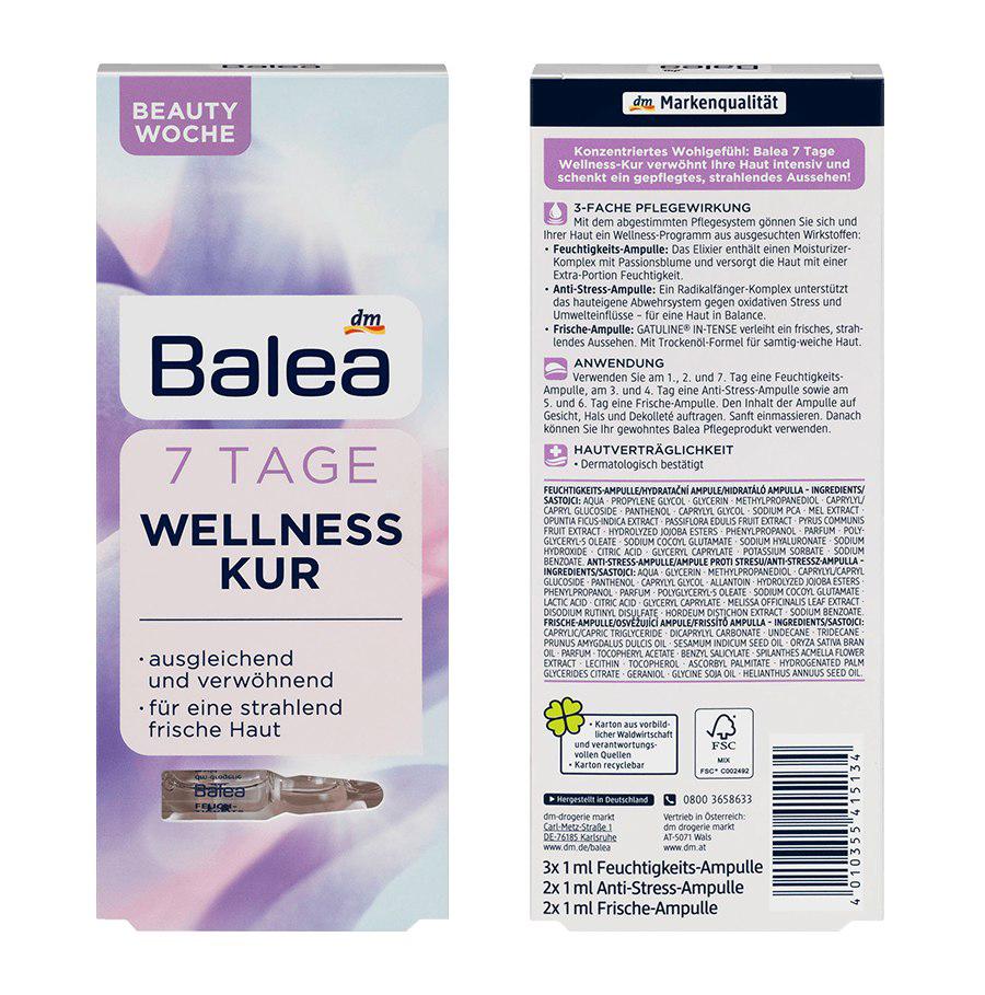 Balea 7 Tage Wellness Kur - tinh chất dưỡng da liệu trình 7 ngày trẻ hoá làn da, 7 ml (mẫu mới)