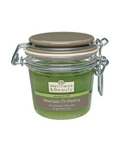 Tẩy da chết Wellness & Beauty Meersalz-Öl-Peeling - Muối biển, trà xanh, dầu oliu, 300 ml