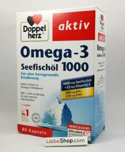 Viên nang dầu cá Doppelherz aktiv Omega-3 Seefischöl 1000mg + Vitamin E, 80 viên