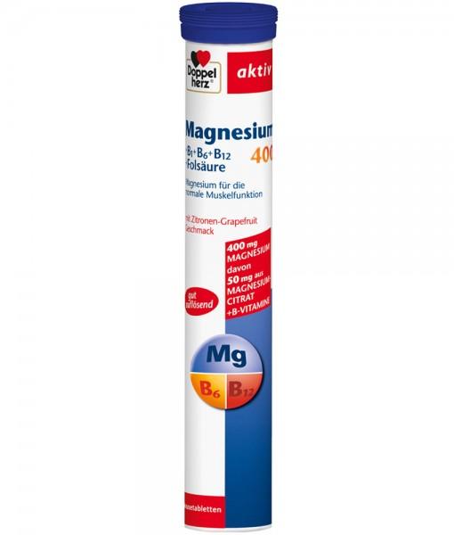 Viên sủi bổ sung magie Doppelherz aktiv Magnesium 400 + B1 + B6 + B12 + Folsäure, 15 viên