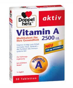Viên uống bổ sung Vitamin A 2500 I.E. Doppelherz aktiv, 60 viên