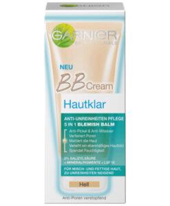 Kem nền Garnier BB Cream Hautklar - Hell cho da nhờn mụn, trị mụn đầu đen, 50 ml
