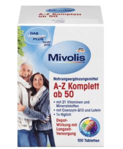 Vitamin tổng hợp DAS Gesunde PLUS Mivolis A-Z Komplett ab50 cho người trên 50 tuổi, 100 viên