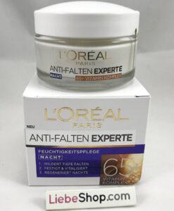 Kem dưỡng da L'Oréal Nachtcreme Anti-Falten Experte 65+ mờ nám giảm nếp nhăn ban đêm, 50ml