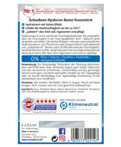 Viên nang Schaebens Hyaluron Boost Konzentrat cấp nước, tái tạo da, 4 viên