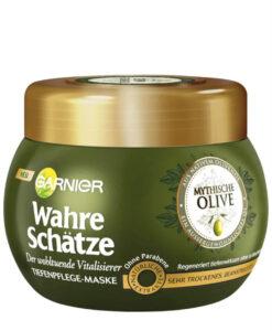 Kem ủ tóc GARNIER Wahre Schätze Mythische Olive cho tóc khô và hư tổn, 300ml