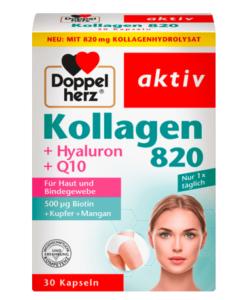 Viên uống Doppelherz Kollagen 820 làm đẹp và trẻ hóa làn da, chống lão hóa, 30 viên