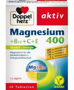 Viên uống bổ sung magie Doppelherz Magnesium 400+B12+C+E, 30 viên