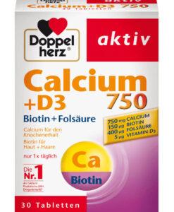 Viên uống Doppelherz Calcium 750 + D3 bổ sung canxi và vitamin D3, 30 viên