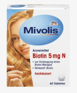 Viên uống Mivolis Biotin 5mg N đẹp da, tóc và móng, ngăn rụng tóc, 60 viên