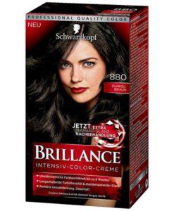 Thuốc nhuộm tóc Brillance Intensiv Color Creme 880 Dunkelbraun - màu nâu đen phủ bạc, 1 hộp