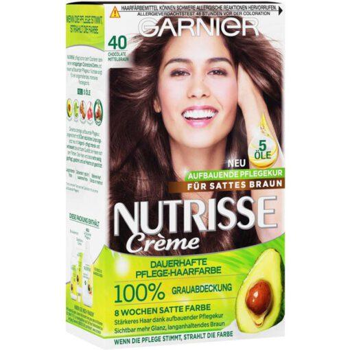 Thuốc nhuộm tóc Garnier Nutrisse 40 Chocolate Mittelbraun - màu nâu socola, 1 hộp