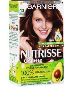 Thuốc nhuộm tóc Garnier Nutrisse 43 Capuccino Goldbraun - màu nâu vàng cà phê sữa, 1 hộp