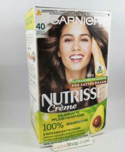 Thuốc nhuộm tóc Garnier Nutrisse 40 Chocolate Mittelbraun – màu nâu socola, 1 hộp