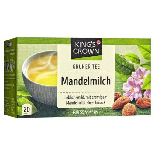 Trà King's Crown Grüner Tee Mandelmilch trà xanh sữa hạnh nhân dạng túi lọc, 20 gói