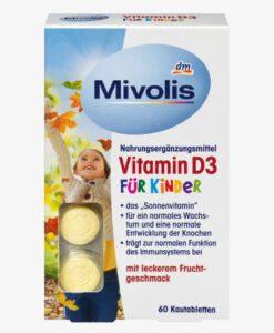 Viên ngậm Mivolis Vitamin D3 für Kinder bổ sung vitamin D3 cho trẻ em từ 4 tuổi, 60 viên