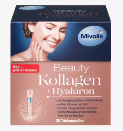 Collagen thủy phân Mivolis Beauty Kollagen + Hyaluron làm đẹp da, 20x25ml