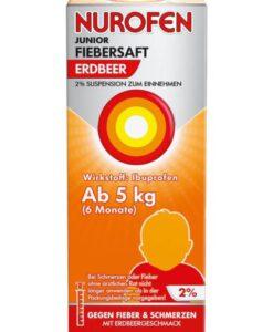 Siro hạ sốt Nurofen Junior Fiebersaft Erdbeer 2% cho trẻ sơ sinh từ 6 tháng tuổi, 100ml