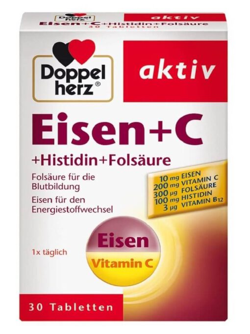 Viên sắt Doppelherz Eisen + C + Histidin + Folsäure, 30 viên