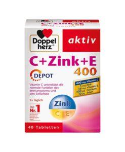Viên uống Doppelherz aktiv C+Zink+E 400 Depot bổ sung kẽm và vitamin, 40 viên