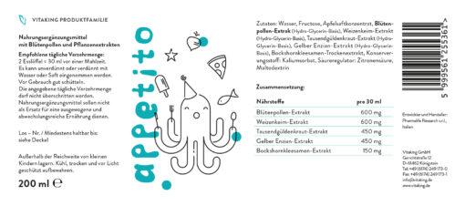 Siro Appetito kích thích ăn ngon, hỗ trợ tiêu hóa, 200ml