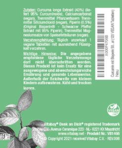Viên tinh bột nghệ Vitabay Curcumin mit Bioperin 500 mg, 120 viên