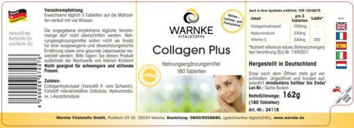 Viên uống Collagen Plus WARNKE làm đẹp da, chống lão hóa, 180 viên