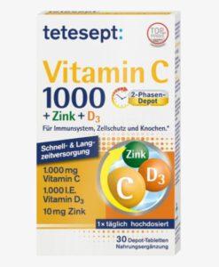 Viên uống tetesept Vitamin C 1000 + Zink + D3, 30 viên