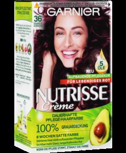 Thuốc nhuộm tóc Garnier Nutrisse 36 Dunkle Kirsche - màu nâu đỏ, 1 hộp