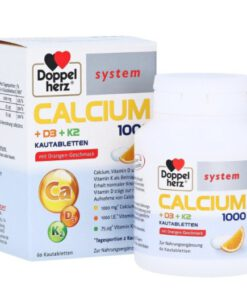 Viên nhai bổ sung canxi Doppelherz Calcium 1000 + D3 + K2 vị cam, 60 viên